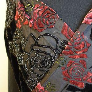 Zoa Red Rose Black Velvet Scarf